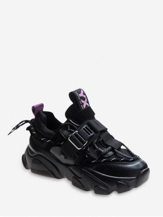 shops Mix Material Tie Back Platform Sneakers - JASMINE PURPLE EU 38