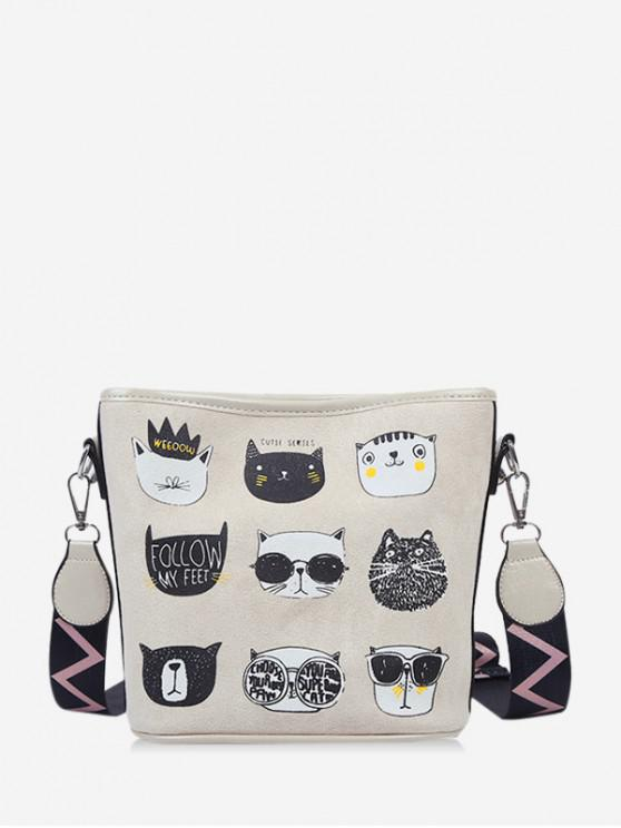 new Cartoon Cat Print Wide Strap Bucket Bag - LIGHT KHAKI