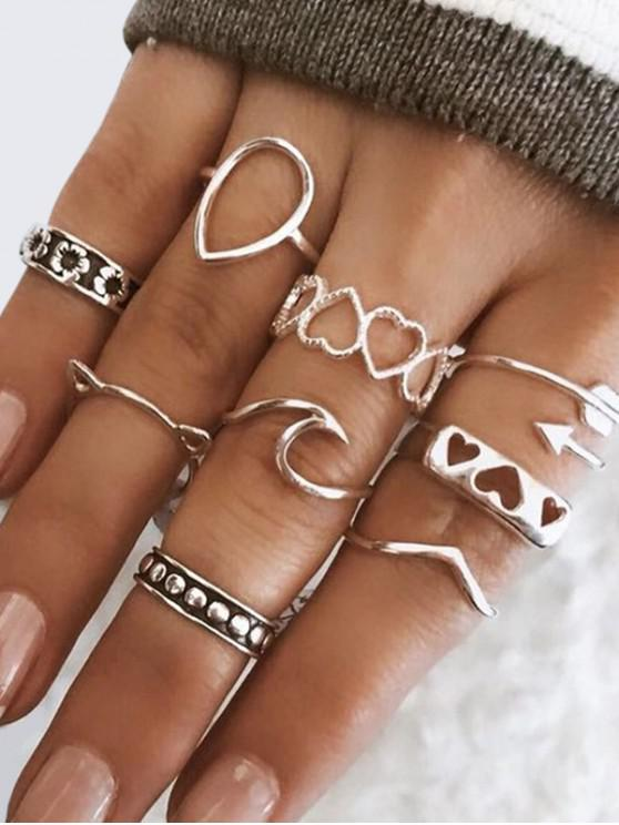 lady 9Pcs Hollow Heart Floral Cat Ring Set - SILVER