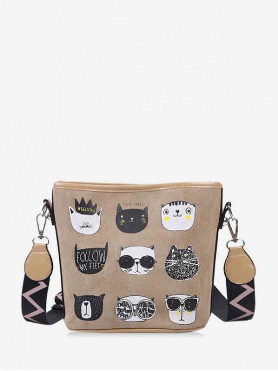 outfit Cartoon Cat Print Wide Strap Bucket Bag - LIGHT BROWN