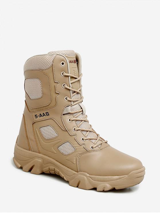 fancy Outdoor Lace Up Combat Mid Calf Boots - LIGHT KHAKI EU 41