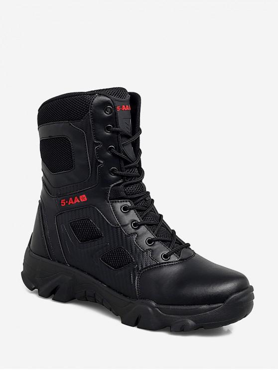 lady Outdoor Lace Up Combat Mid Calf Boots - BLACK EU 47