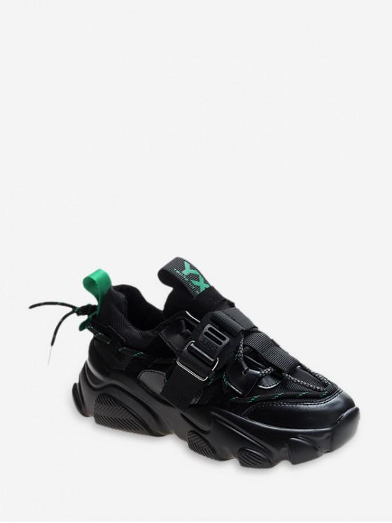 outfit Mix Material Tie Back Platform Sneakers - DEEP GREEN EU 41