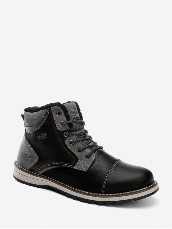 women's Lace Up Fleece Cargo Boots - BLACK EU 42