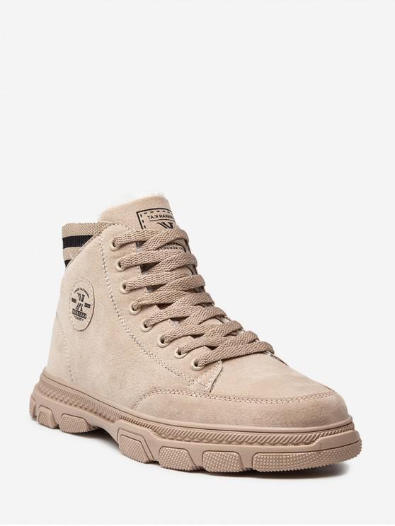 online Striped Trim Casual Fleece Ankle Boots - KHAKI EU 41