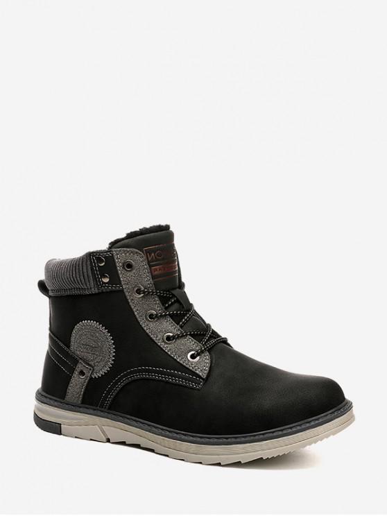 buy Outdoor Patch Cargo Fleece Boots - BLACK EU 44