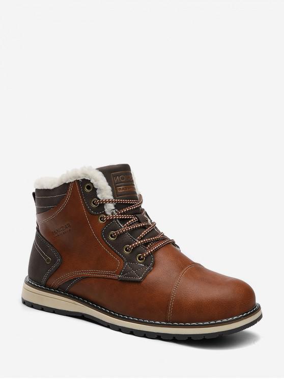 online Lace Up Fleece Cargo Boots - BROWN EU 39