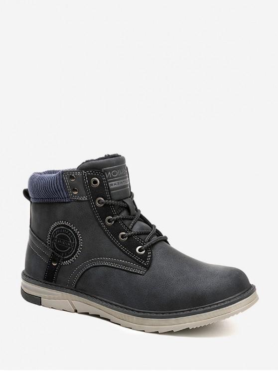 fashion Outdoor Patch Cargo Fleece Boots - BLUE EU 43