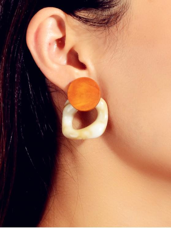 shops Geometric Wood Hollow Stud Earrings - TIGER ORANGE