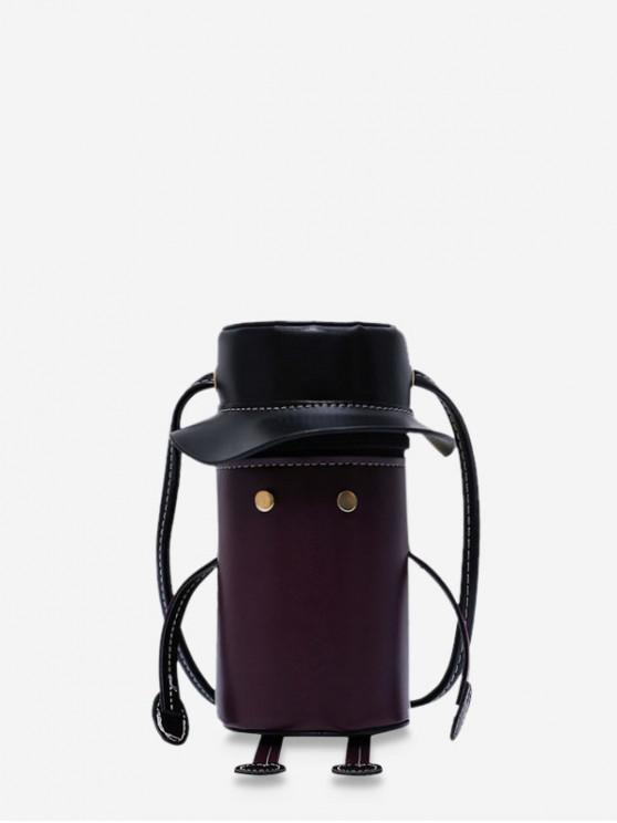 unique Cartoon Robot Design PU Leather Cylinder Bag - COFFEE