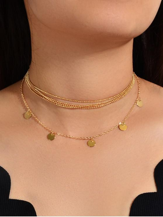 sale Alloy Beads Round Layered Necklace - GOLD