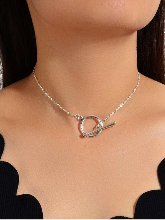 womens Brief Circle Bar Lariat Necklace - SILVER