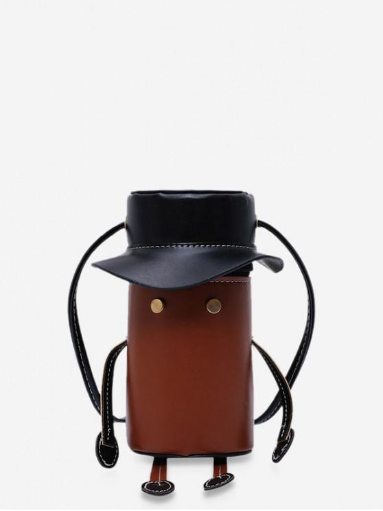 shop Cartoon Robot Design PU Leather Cylinder Bag - BROWN