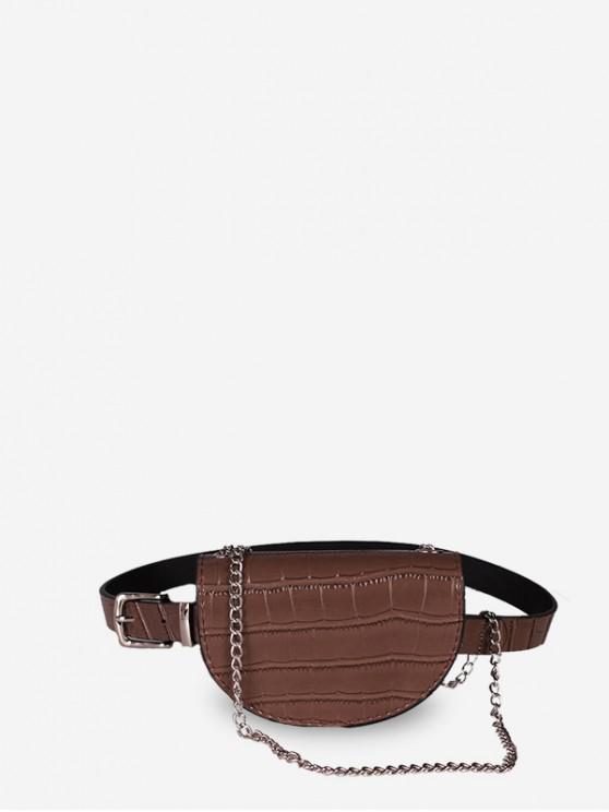 trendy Saddle Semicircular Chain Waist Bag - PUCE