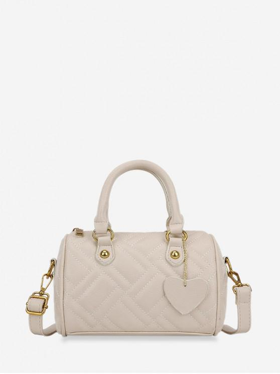fashion Geometric Quilted Heart Design PU Leather Tote Bag - WARM WHITE