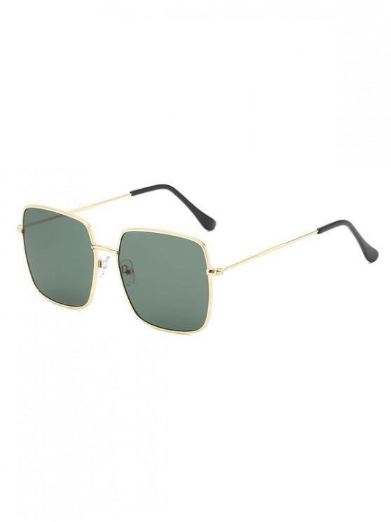 fancy Metal Square Lightweight Sunglasses - DARK GREEN