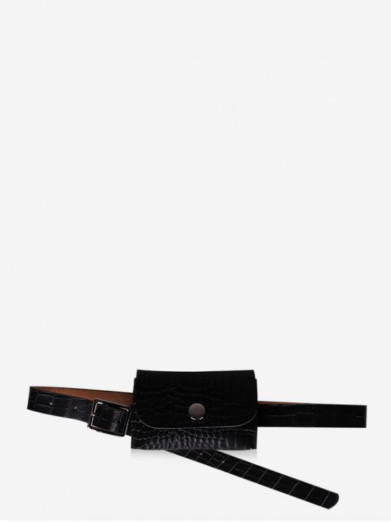 unique Waist Mini Square Embossed Belt Bag - BLACK