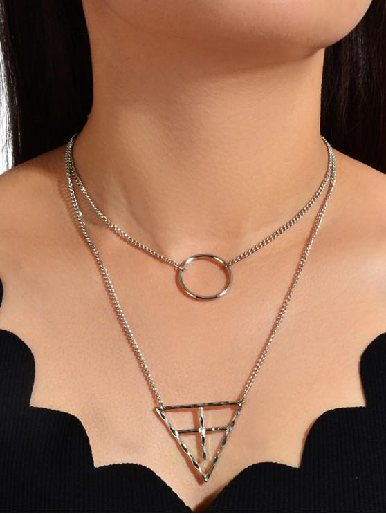 women Hollow Out Geometric Layered Necklace - SILVER