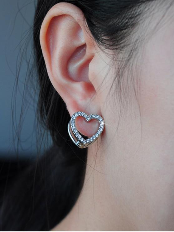 ladies Double Heart Hollow Stud Earrings - SILVER