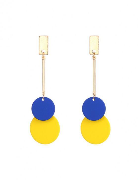 五顏六色的圓盤式耳環 - 金