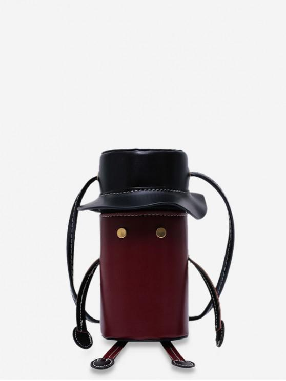 outfits Cartoon Robot Design PU Leather Cylinder Bag - RED WINE