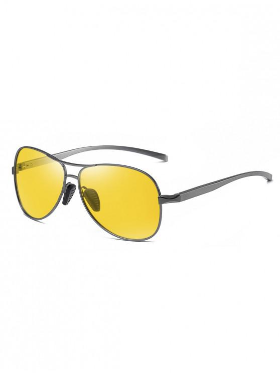 affordable Metal Bar Polarized Pilot Sunglasses - GOLDENROD