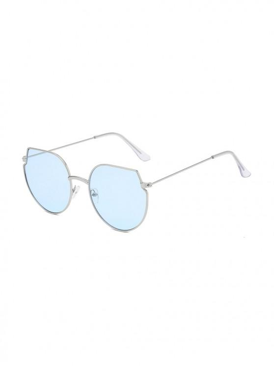 women's Metal Irregular Round Oversized Sunglasses - DEEP SKY BLUE