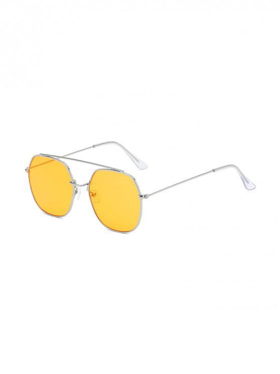 online Irregular Metal Lightweight Sunglasses - YELLOW