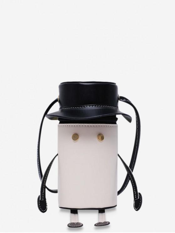 outfit Cartoon Robot Design PU Leather Cylinder Bag - MILK WHITE