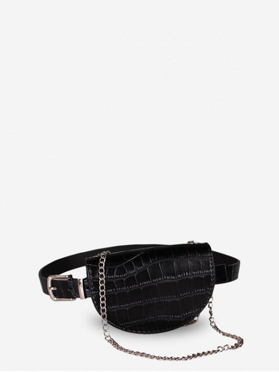 shops Saddle Semicircular Chain Waist Bag - BLACK