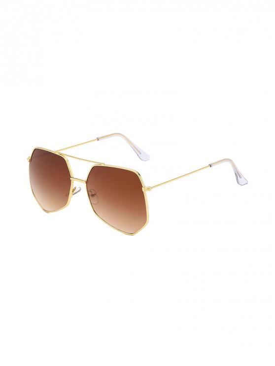 trendy Metal Irregular Bar Oversized Sunglasses - LIGHT BROWN