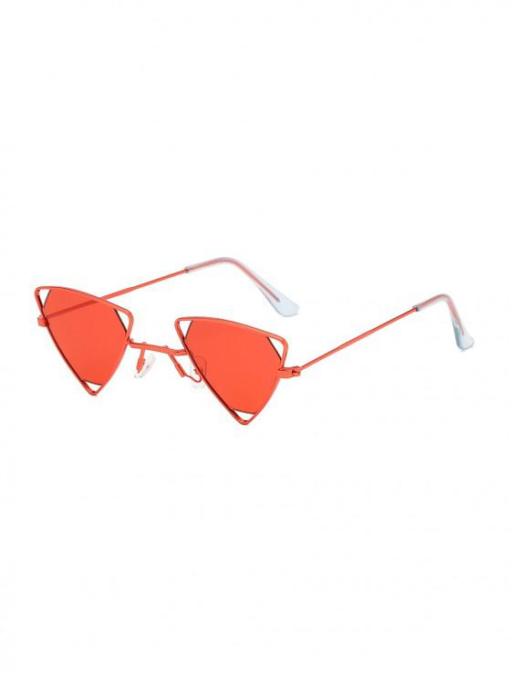 chic Metal Hollow Triangle Lightweight Sunglasses - RED