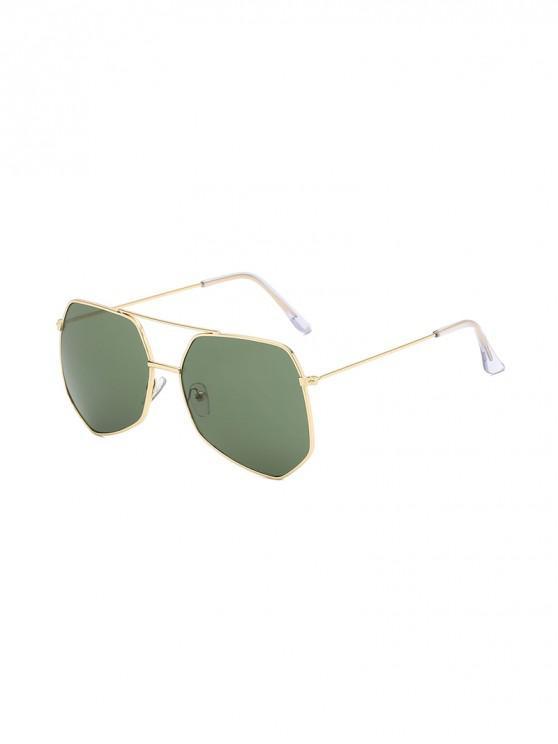 womens Metal Irregular Bar Oversized Sunglasses - DARK GREEN