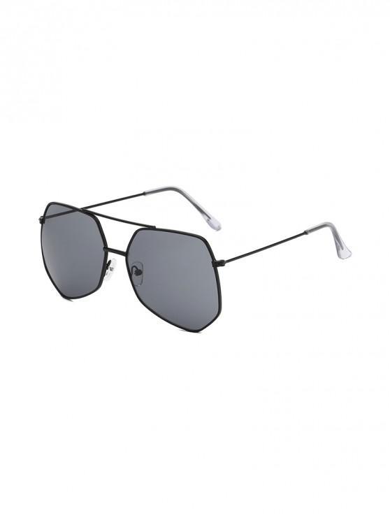 shops Metal Irregular Bar Oversized Sunglasses - SMOKEY GRAY