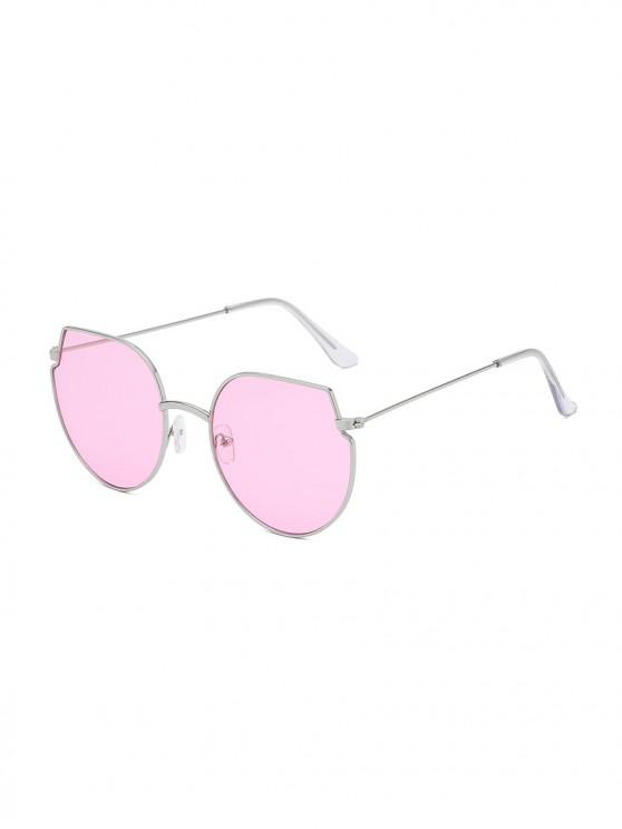 chic Metal Irregular Round Oversized Sunglasses - HOT PINK