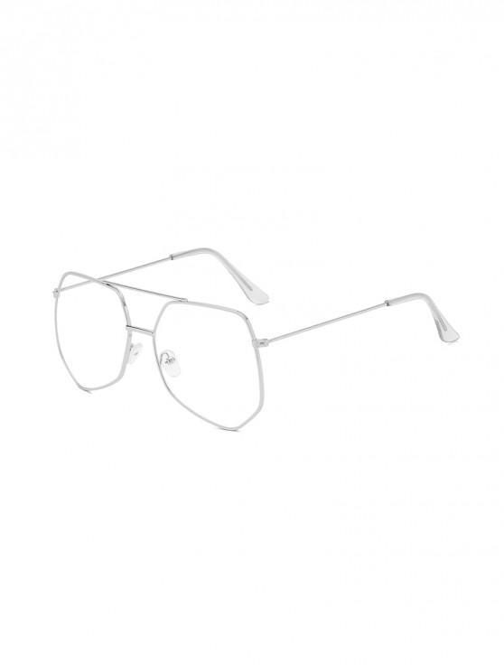 fancy Metal Irregular Bar Oversized Sunglasses - SILVER