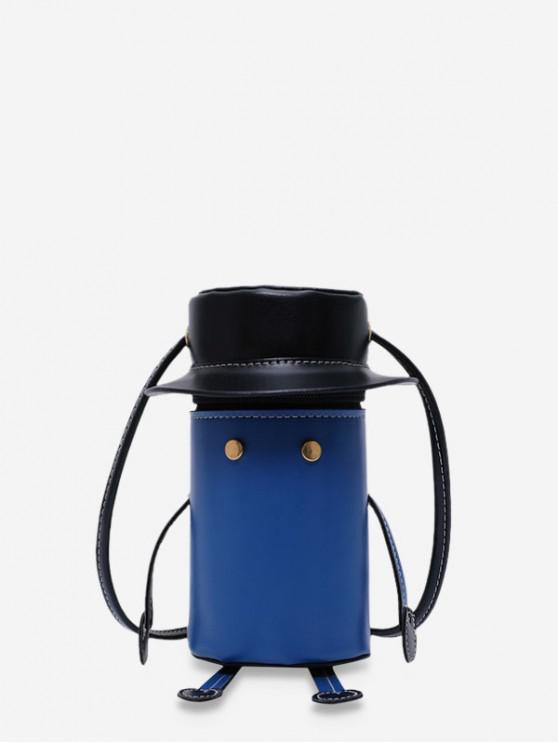 womens Cartoon Robot Design PU Leather Cylinder Bag - BLUEBERRY BLUE