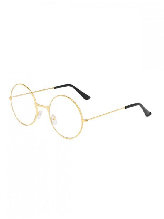 lady Metal Lightweight Round Plain Glasses - GOLD