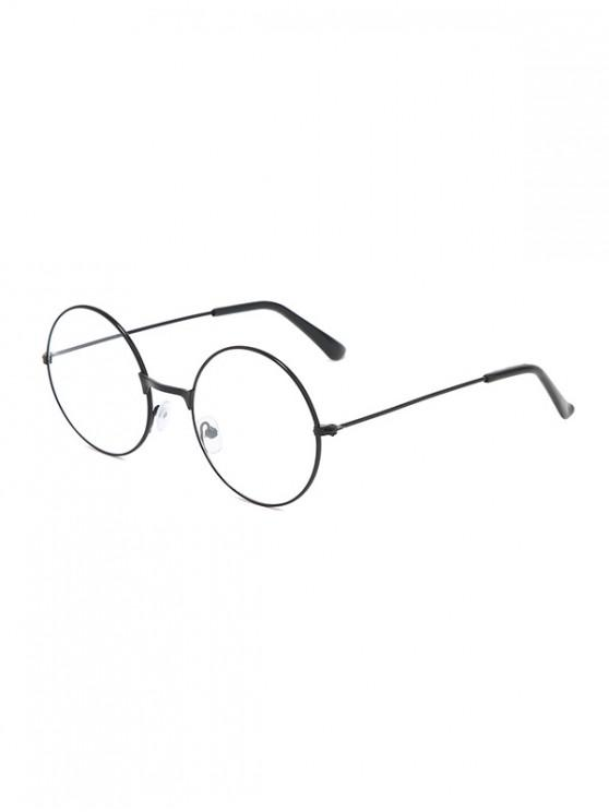 new Metal Lightweight Round Plain Glasses - BLACK