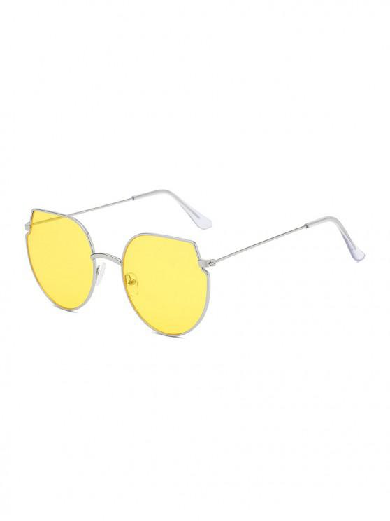 latest Metal Irregular Round Oversized Sunglasses - CORN YELLOW