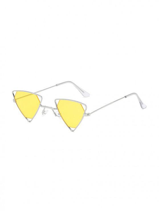 trendy Metal Hollow Triangle Lightweight Sunglasses - GOLDENROD
