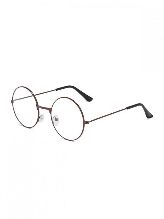 chic Metal Lightweight Round Plain Glasses - BROWN