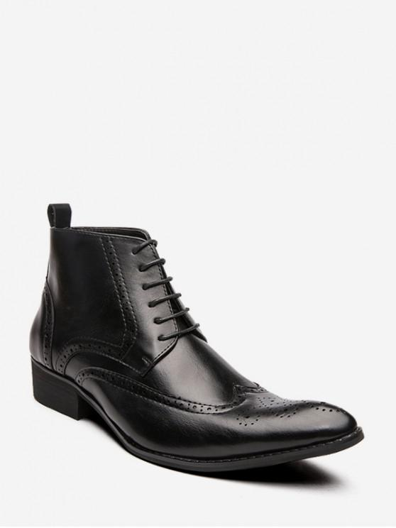 lady Pointed Toe Wingtip Ankle Boots - BLACK EU 39