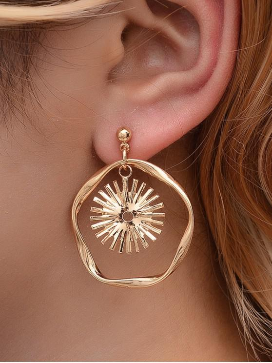 online Sun Circle Drop Earrings - GOLD