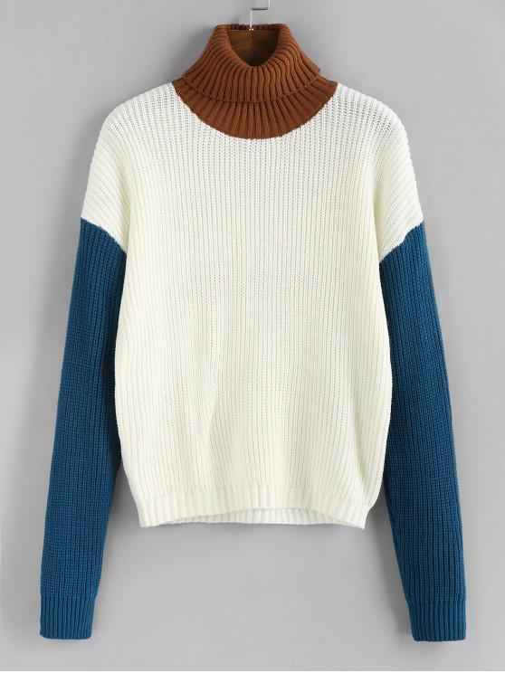 new ZAFUL Turtleneck Colorblock Sweater - WARM WHITE L