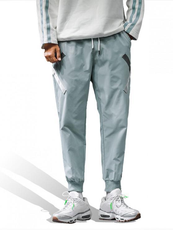 fashion Cross Design Pocket Decoration Jogger Pants - BLUE GRAY M