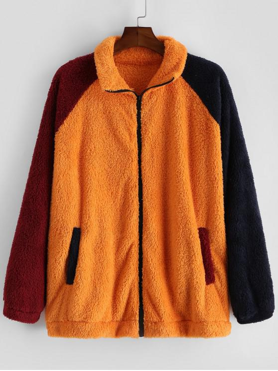 womens Casual Color Blocking Zip Up Fluffy Jacket - PUMPKIN ORANGE S