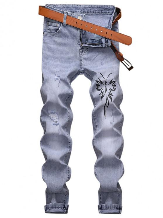 lady Totem Printed Zip Fly Casual Jeans - LIGHT BLUE 32