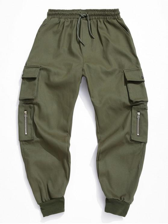 trendy Solid Color Elastic Waist Cargo Pants - ARMY GREEN L
