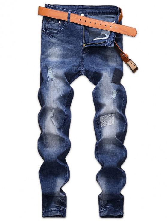 unique Patchworks Design Ripped Zip Fly Jeans - DENIM DARK BLUE 34